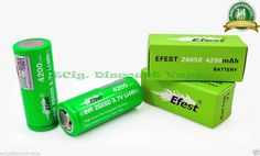 2 Efest Green IMR 26650 3.7V Li-Mn 4200mAh 50A High Drain Rechargeable Battery #EfestGreen26650 Brand Spanking New From Efest, Awesome Power.
