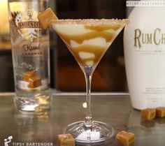 Salted Caramel Martini - For more delicious recipes and drinks, visit us here: www.tipsybartender.com
