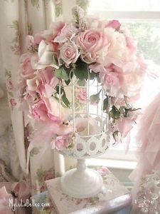 Romantic Victorian Shabby Chic Roses Birdcage with A Pink Glitter Bird Lovely ~ For sale on EBay