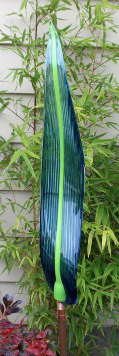 Hand Blown Glass Art Garden Leaf  Garden Art by oneilsarts on Etsy, $75.00