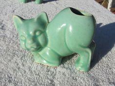 Vintage McCoy Green Pottery Animal Cat Vase Planter Hard to Find | eBay