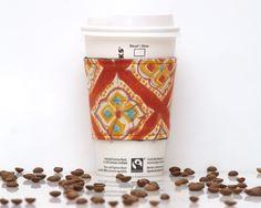 New to Chockrosa on Etsy: Fabric Coffee Cozy | Red Orange Blue | Cozies Koosie Kozy | Stocking stuffer | Drink Sleeve | Black lining | Womens Mens gift