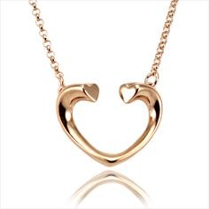Fenicemark open heart pendant sterling silver rose gold necklace