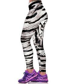 Black White Stripe Tiger, Fitness Leggings | Fitness Queen Club