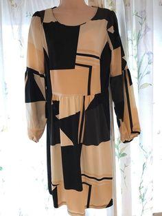 6661b963609 NEXT LADIES VINTAGE STYLE RETRO BLACK   BEIGE STRETCHY DRESS - UK SIZE 10  EU 38