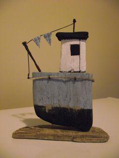 Driftwood boat (Sea Blue1)