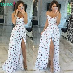 Russian famous TaoVK fashion 2016 summer women long Cherry printing white empire strapless floor length dresses - B E S T Online Marketplace - SaleVenue Sexy Party Dress, Sexy Dresses, Cute Dresses, Beautiful Dresses, Dress Outfits, Casual Dresses, Fashion Dresses, Summer Dresses, Summer Maxi
