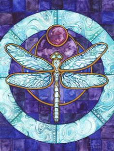 Dragonfly 8.5 x 11 print of watercolour artwork in earthy violet & turquoise, magic celtic fairy moon glow watercolor pendant wings realm