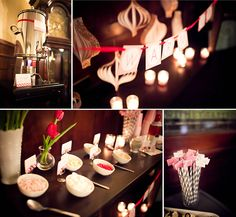 Hot cocoa bar with toppings at GRunveiled Pink, red, white, gray chevron details. Planning a Michigan Wedding with Pearls Events: Real Event Hot Cocoa Bar, Bridal Show, Red And Grey, Wedding Planner, Table Settings, Gray Chevron, Table Decorations, How To Plan, Pearls