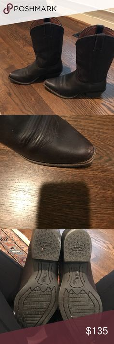 Cowboy Boits These awesome boots have been worn 3 times. They are a Chocolate Brown. I had to say they had a heel under the category because there is not a listing for cowboy boots. Nocona Shoes Heeled Boots
