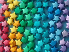 paper stars in rainbow colours