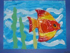 "1st grade ceramic fish (3"" X4"") on painted background; art teacher: Susan Joe"