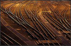 Underground Railway tracks in London at dusk