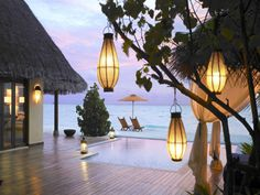 So you don't live in Fiji.  Sink a hot tub under the deck.  Love the lanterns.