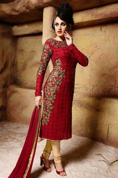 Maroon Georgette Churidar Suit With Dupatta Maroon Georgette, semi stictch churidar suit.   Round neck, Above knee length, full sleeves kameez.   Beige satin churidar.   Maroon chiffon dupatta with lace border with work.  Product are available in 34,36,38,40 sizes. It is perfect for casual wear, festival wear, party wear and wedding wear.