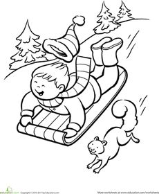 winter sledding coloring page