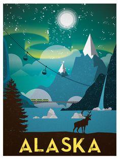 Vintage Alaska Print $15 #vintage #travel #posters #illustration
