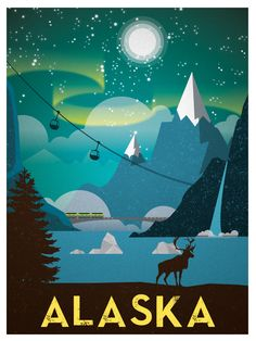 Vintage Alaska Print $15 #vintage #travel #posters #illustration