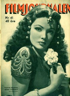 Filmjournalen Magazine 1942 Amazing Cover of Gorgeous Gene Tierney Rare ! Look Old Hollywood Style, Hollywood Icons, Old Hollywood Glamour, Hollywood Actor, Golden Age Of Hollywood, Classic Hollywood, Hollywood Stars, Hollywood Actresses, Old Movies