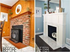 Beautiful fireplace remodel by Young House Love Fireplace Update, Home Fireplace, Fireplace Remodel, Fireplace Makeovers, Fireplace Ideas, Reface Fireplace, Country Fireplace, Brick Fireplaces, Cottage Fireplace