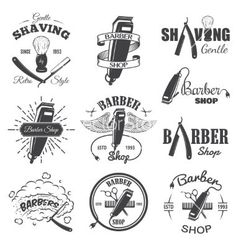 Second set of vintage barber shop emblems vector by IvanMogilevchik on VectorStock®