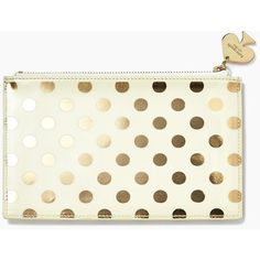 Kate Spade Gold Dots Pencil Pouch Set (865 UYU) ❤ liked on Polyvore featuring home, home decor, office accessories, bags, purses, kate spade pencils, gold pencil pouch, kate spade pencil case, gold pencil case and polka dot pencil case