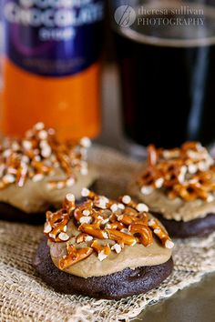 Chocolate Stout Cookies with Salted Caramel Frosting & Pretzels - pretzel recipes curated by SavingStar Grocery Coupons. Save money on your groceries at SavingStar.com