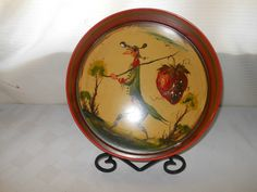 Peter Ompir Gent with Strawberry Man Tin Round Tray Hand Painted Folk Art .Signed