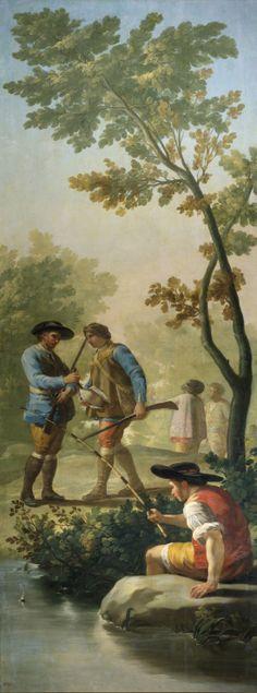 """Francisco de Goya: """"El pescador de caña"""". Oil on canvas, 289 x 110 cm, 1775. Museo Nacional del Prado, Madrid, Spain"""