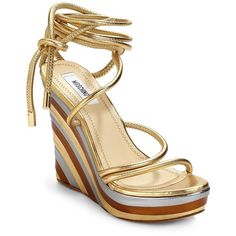 Moschino Wrap-Around Ankle Tie Wedge Sandals/Gold ($489) found on Polyvore