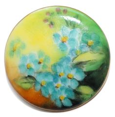Vintage Hand-Painted Porcelain Button - Medium by KPHoppe on Etsy
