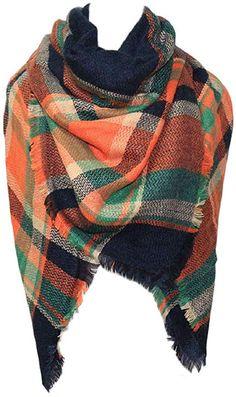 Damen Winter Warm Tartan Check Neck Schal Wrap Stola Plaid