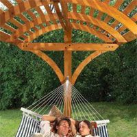 Plans to make a pergola type hammock stand.  http://www.home-dzine.co.za/garden/images/hammock.pdf     Home-Dzine - Advanced DIY projects for those with DIY savvy
