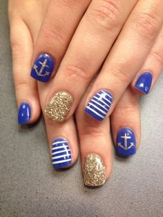 4. Nautical - 24 Fancy Nail Art Designs That You'll Love Looking at All Day Long ... → Beauty