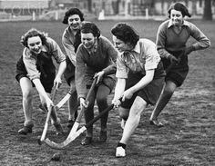 Women of the Auxiliary Territorial Service playing hockey, England April 17, 1940