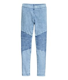 Light denim blue. Leggings in stretch cotton-blend twill with an elasticized waistband. Decorative seams on legs.
