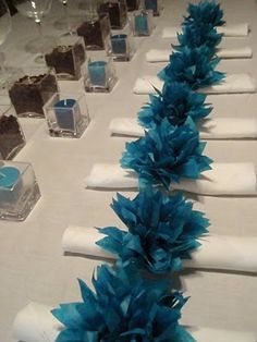 Tissue paper flowers for drama. This is simple, beautiful, dramatic, inexpensive WOW! Round up your family & friends and it wouldn't be hard to execute. And it's the perfect color for my wedding! Peacock Wedding, Blue Wedding, Wedding Table, Diy Wedding, Wedding Flowers, Dream Wedding, Wedding Ideas, Wedding Paper, Paper Dahlia