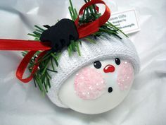 Image detail for -Bear Hunting Snowman Ornament Christmas Tree Bulb Hand Painted Glass ...