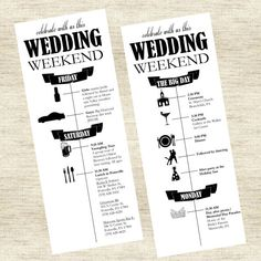 This custom designed wedding schedule is the perfect addition to your welcome bag or wedding weekend for your guests. This is also great to make