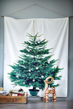Ikea Christmas Tree Fabric Vinter 2014 Spruce/White/Green Brand New Ikea Christmas Tree, Fabric Christmas Trees, Modern Christmas, Christmas Love, Xmas Tree, All Things Christmas, Christmas Holidays, Christmas Crafts, Christmas Decorations