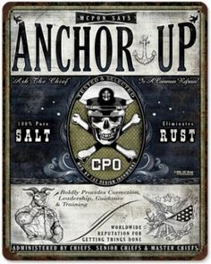 United States Navy Chief (Anchor up) vintage metal sign & Gift