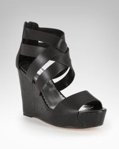 Stella Strappy Leather Cork Wedge Sandal