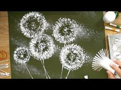 Toilet Paper Rolls Dandelion Q-Tips Painting Techniques - recycled craft Q Tip Painting, Painting & Drawing, Acrylic Paintings, Dandelion Painting, Dandelion Flower, Flower Wall, Arts And Crafts, Paper Crafts, Toilet Paper Roll
