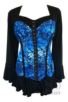 Dare To Wear Victorian Gothic Women's Plus Size Corsetta Corset Top Indigo