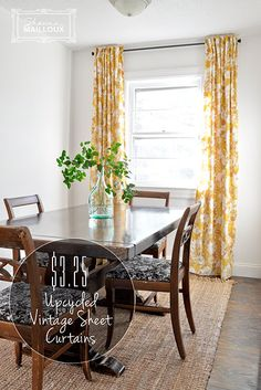 DIY lined, back-tab curtains made from an upcycled vintage floral sheet for just $3.25/panel!