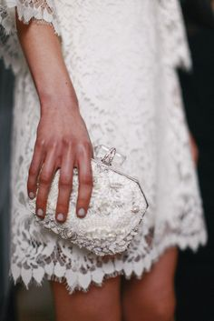 Marchesa, bridal 2015 backstage - The Glam Pepper Marchesa Bridal, Marchesa Spring, Lace Dress, Dress Up, Lace Bag, White Dress, Bridal 2015, Plum Pretty Sugar, Suit Up