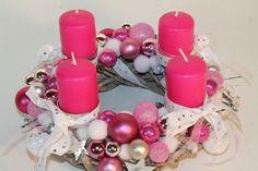 """Adventskranz - Adventskranz """"Sterne-pink-weiss"""" - ein Designerstück von Mia-Floristik bei DaWanda"""