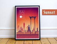 BANGKOK Sunset Skyline Art Bangkok  Art Bangkok  by JackTravelMap