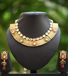 Stunning Kundan & Polki Necklace Set – India1001.com