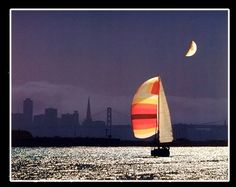 Absolutely Outstanding! Jazz up your living space with this night sailing San Francisco city boat art print poster. This poster displays the image of beautiful, charming San Francisco city; calm waves of ocean in night with a sailing boat and beautiful half moon in the sky amaze the beauty of this wall poster and sure to add a subtle touch of calming ambience to any space which is sure to grab lot of attention.